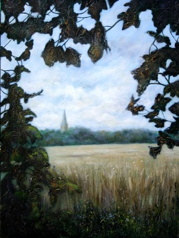 phoca_thumb_l_Finedon Church from Harrowden Lane (oil)