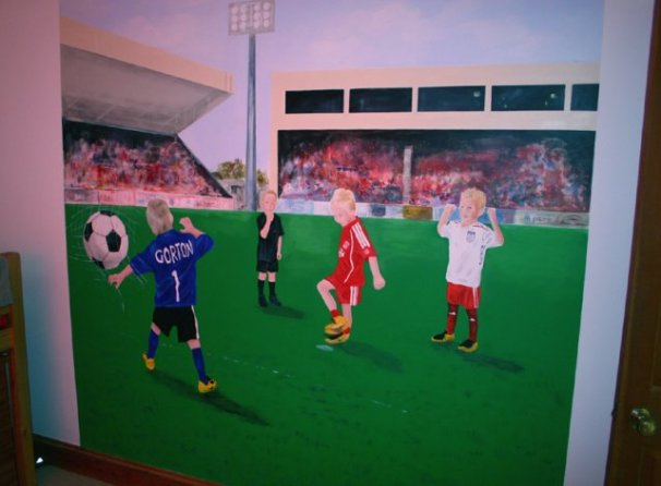 phoca_thumb_l_Football Mural in Bedroom