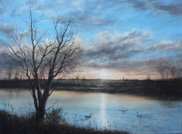 phoca_thumb_l_River Nene, Irthlingborough 2009 (oil)